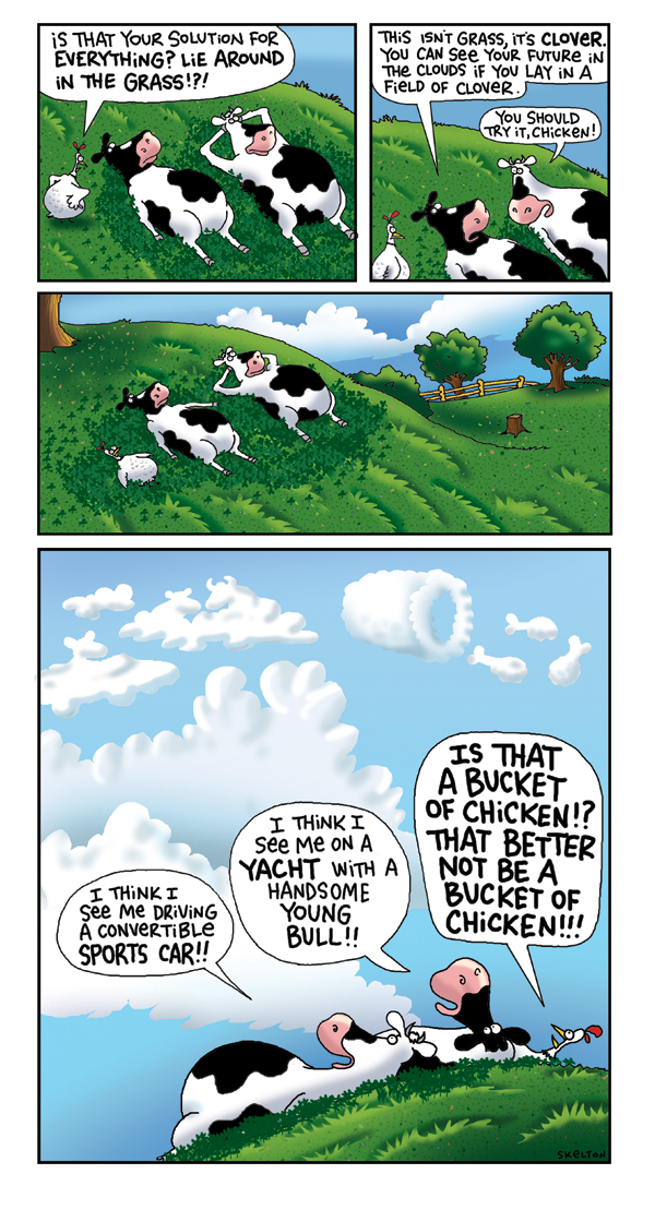 2 Cows and a Chicken for Jul 27, 2008 Comic Strip