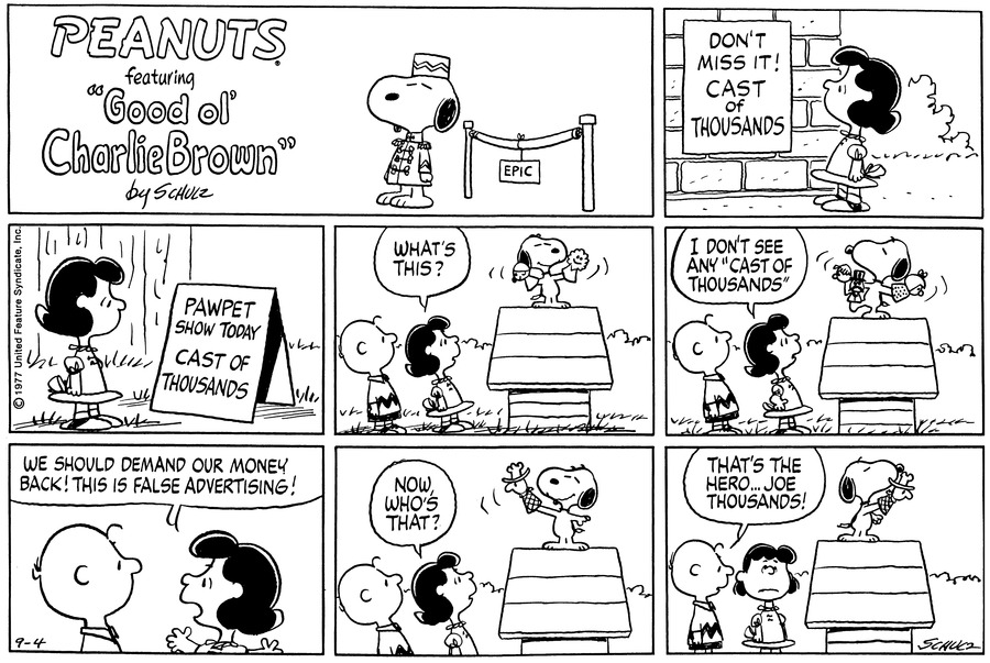 Peanuts Comic Strip for September 04, 1977