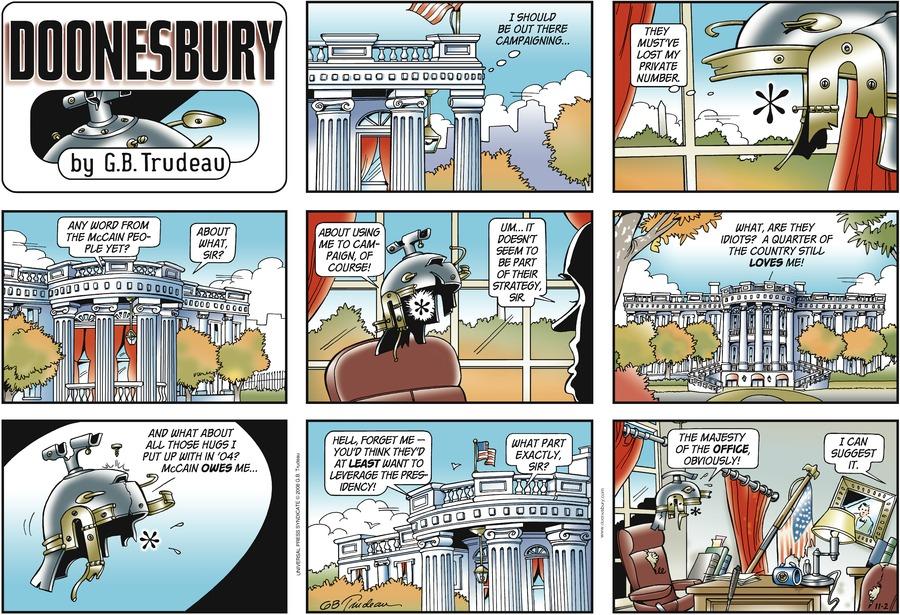 Doonesbury for Nov 2, 2008 Comic Strip