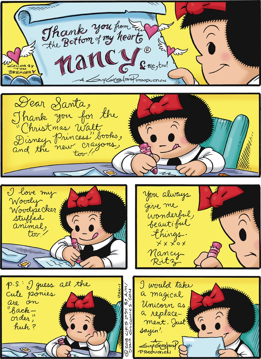 Nancy for Jan 7, 2018 Comic Strip
