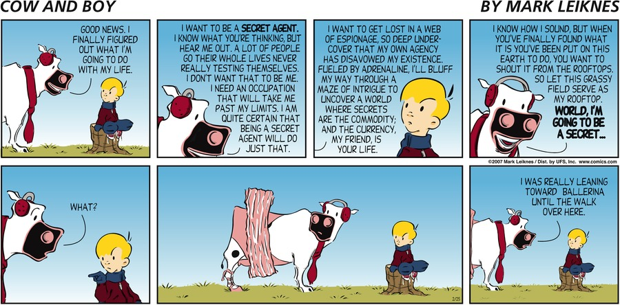 Cow and Boy Classics Comic Strip for February 25, 2007