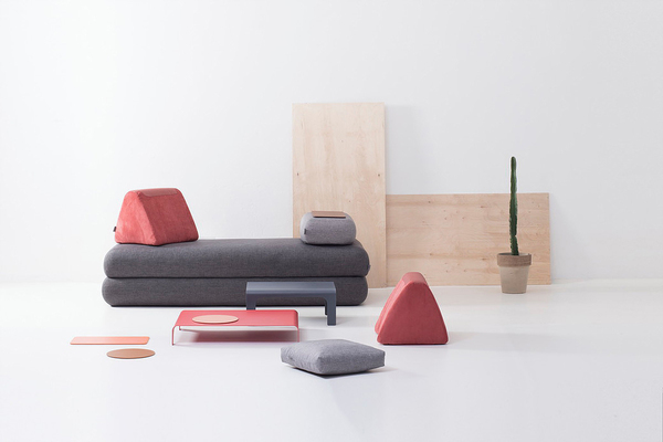 Hannabi's urban nomad sofa demonstrates a flexibility in design, with geometric movable components such as large rectangular seating cushions, armrests and triangular back supports, offering flexibility in configuration. The Hungarian brand designed it for city dwellers who move frequently, often to small apartments.