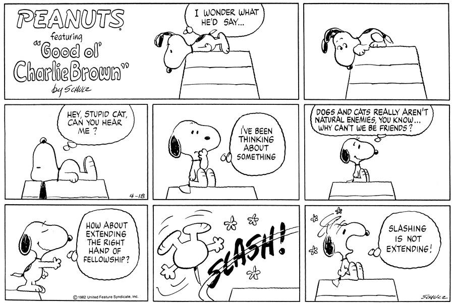 Peanuts for Apr 18, 1982 Comic Strip