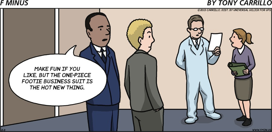 Black man: Make fun if you like, but the one-piece footie business suit is the hot new thing.