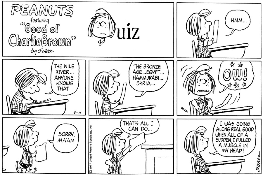 Peanuts Comic Strip for September 11, 1977