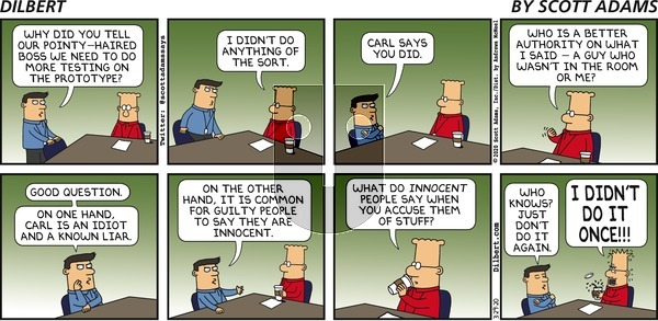 Dilbert on Sunday March 29, 2020 Comic Strip