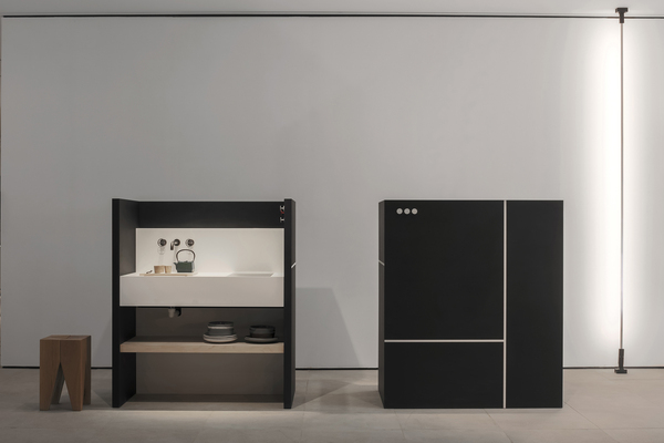A self-contained kitchen from the Japanese company Sanwa, which floats in a space in an attractive cabinet, was a showstopper at EuroCucina.