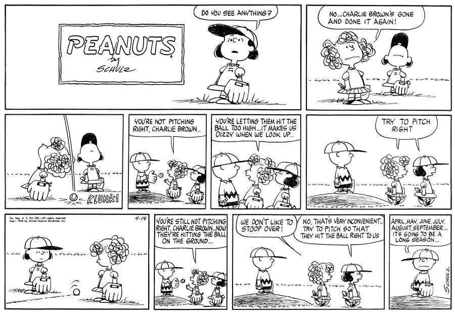 Peanuts Comic Strip for April 14, 1963