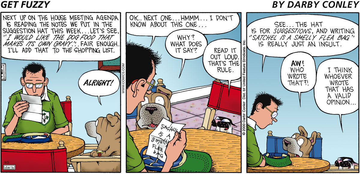 Get Fuzzy for Sep 3, 2000 Comic Strip