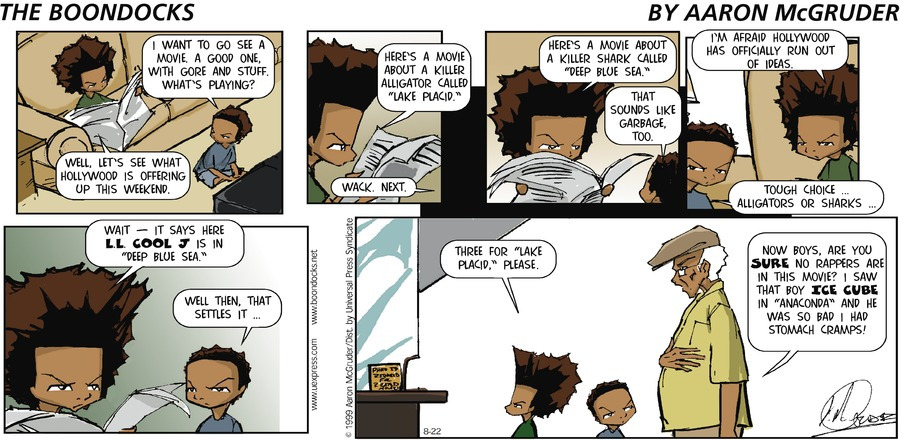 The Boondocks Comic Strip for August 22, 1999