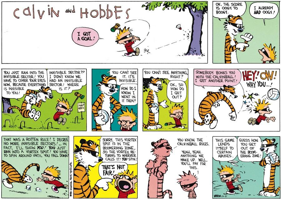 Calvin and Hobbes Comic Strip for September 21, 2014