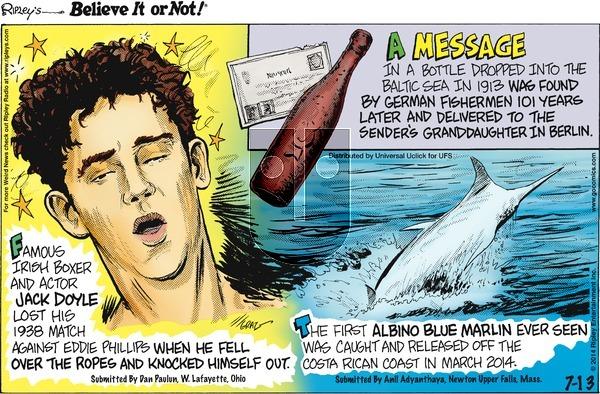 Ripley's Believe It or Not on Sunday July 13, 2014 Comic Strip