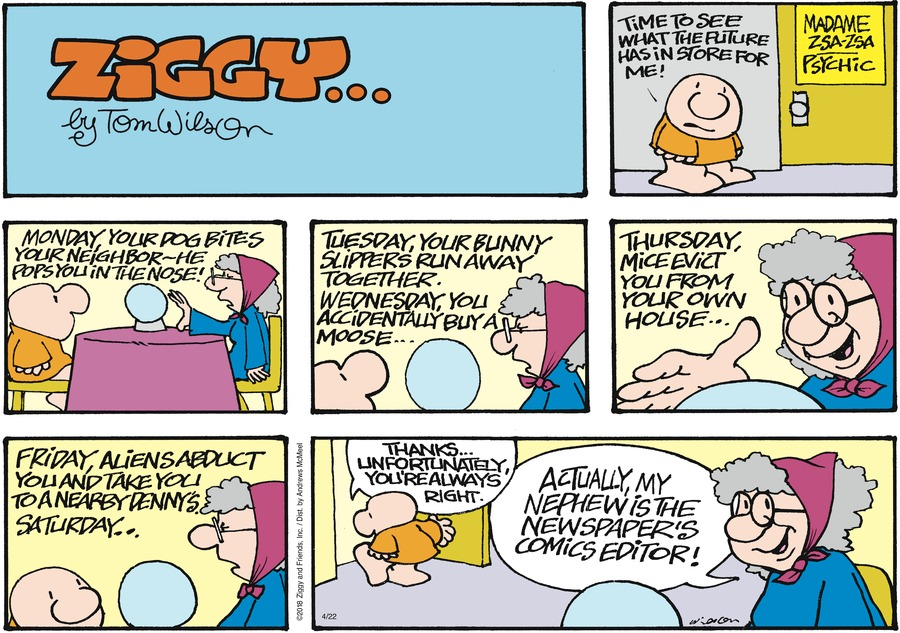 Ziggy Comic Strip for April 22, 2018