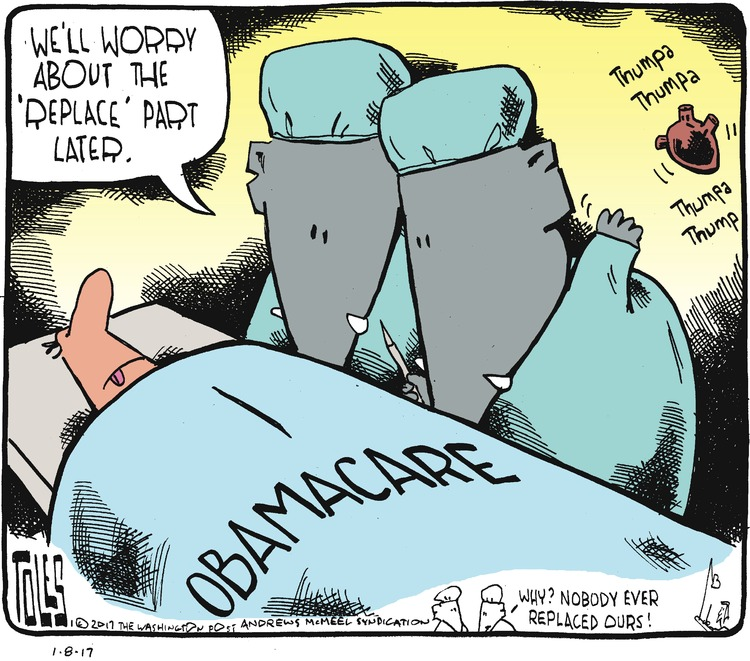 """Obamacare is a patient on a table. His doctors are republicans and they have just thrown away his beating heart. Republican: We'll worry about the """"replace"""" part later."""