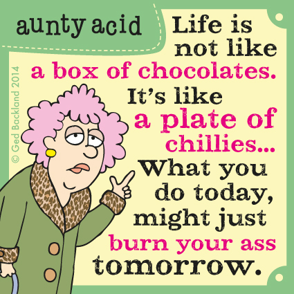 Life is not like a box of chocolates. It's like a plate of chillies... What you do today, might just burn your ass tomorrow.
