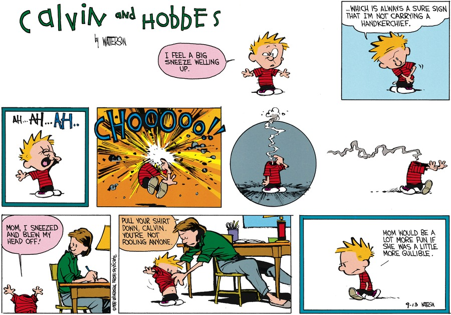 Calvin and Hobbes Comic Strip for October 23, 1988