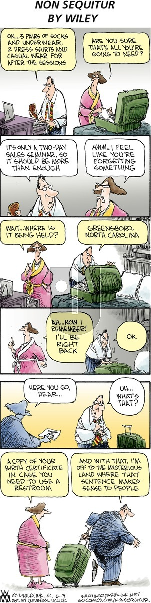 Non Sequitur on Sunday June 19, 2016 Comic Strip