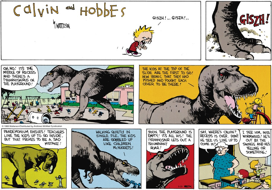 Calvin and Hobbes by Bill Watterson for September 29, 2019