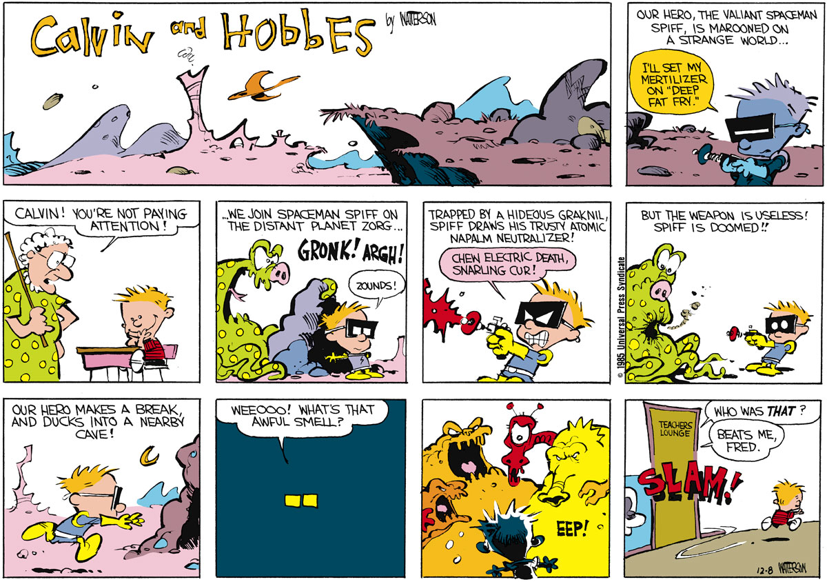 Calvin and Hobbes Comic Strip for December 08, 1985