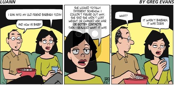 Luann on Sunday August 21, 2016 Comic Strip
