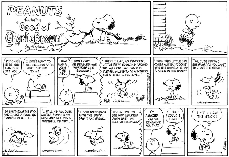 Peanuts Comic Strip for December 31, 1972