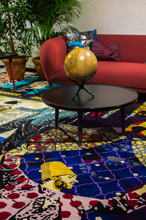 """An answer to all the modern: maximalism. Designer Marcel Wanders' new Globetrotter collection, debuted in the Milan showroom of Roche Bobois during Salone del Mobile and featured explosive patterns and colors. The designer described it as """"a tribute to the adventurer we all dreamed of being."""""""
