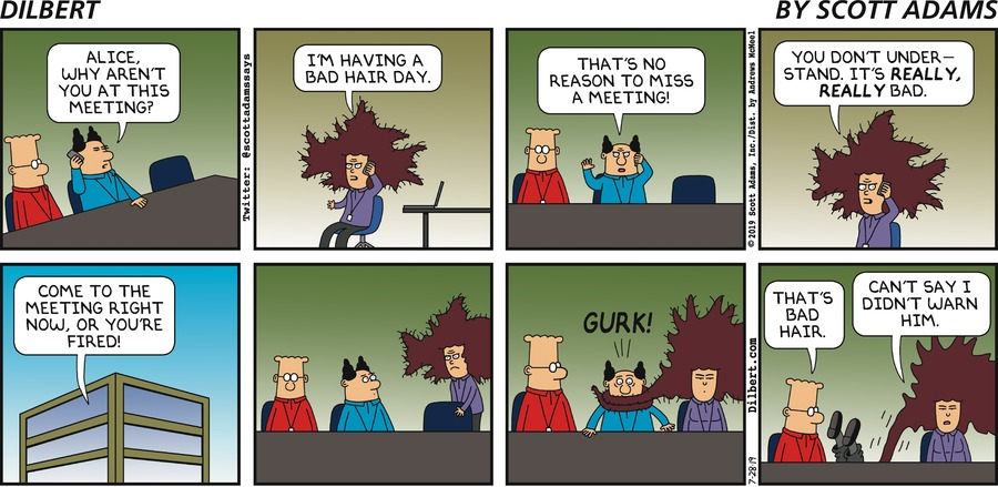 Bad Hair Day - Dilbert by Scott Adams