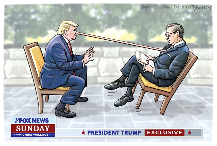 Donald Trump being interviewed by Chris Wallace on Fox News, as Trump's nose grows so long it pokes Wallace in the chest.