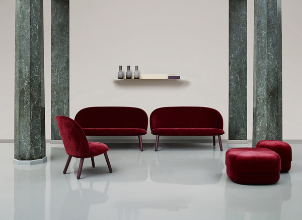 Bordeaux and a range of warm reds is a new color direction, shown here by Normann Copenhagen.