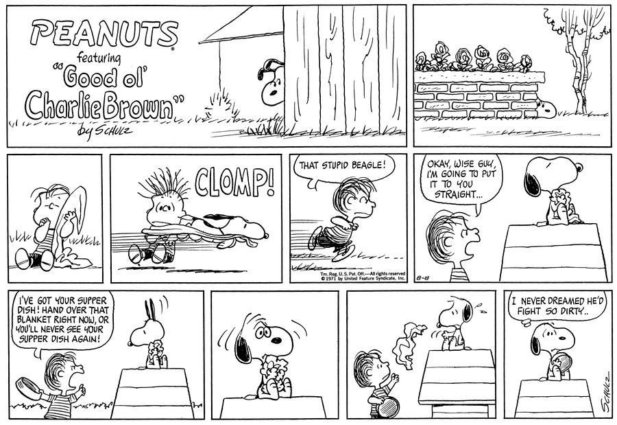 Peanuts for Aug 8, 1971 Comic Strip