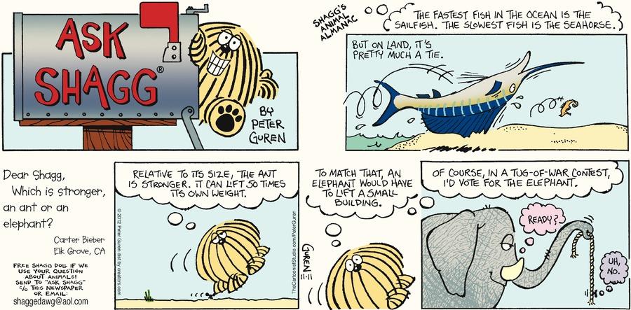 Ask Shagg for Nov 11, 2012 Comic Strip