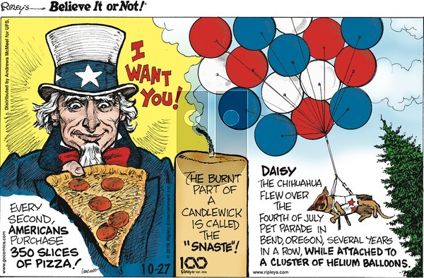 Ripley's Believe It or Not on Sunday October 27, 2019 Comic Strip