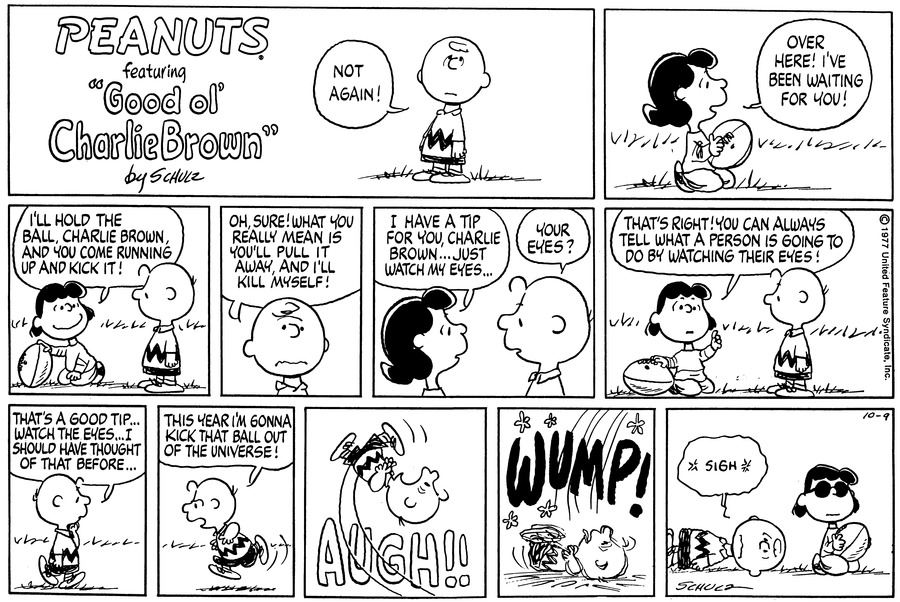 Peanuts Comic Strip for October 09, 1977