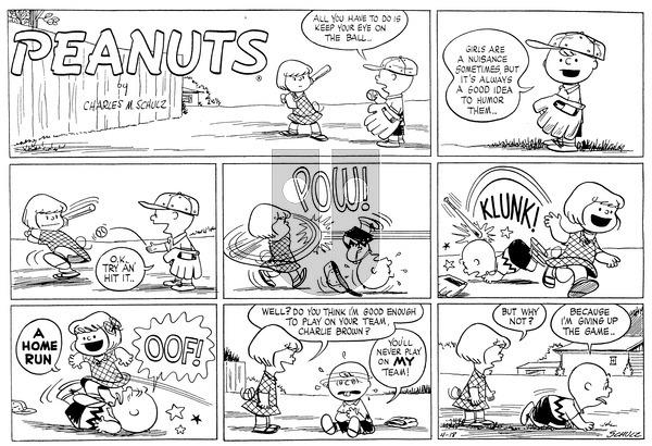 Peanuts on Sunday April 18, 1954 Comic Strip