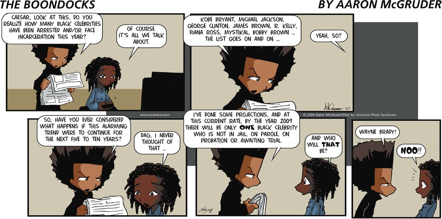 The Boondocks Comic Strip for March 07, 2004
