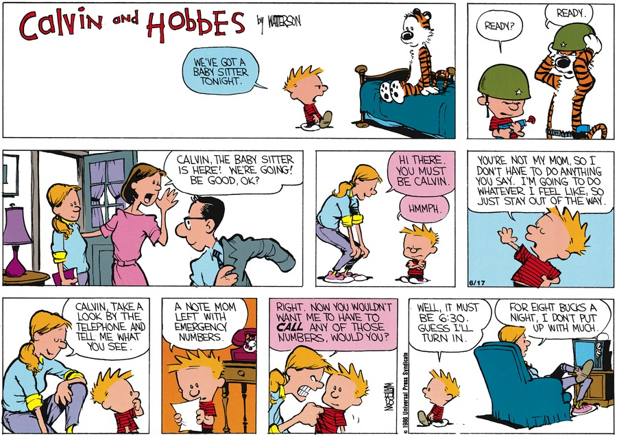 Calvin and Hobbes Comic Strip for May 18, 1986