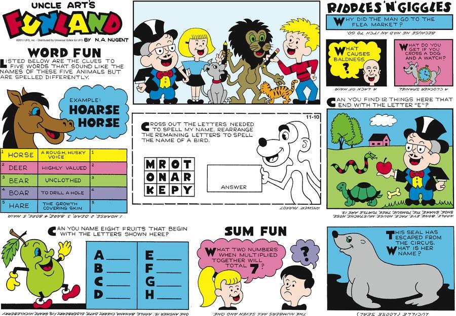 Uncle Art's Funland for Nov 10, 2013 Comic Strip