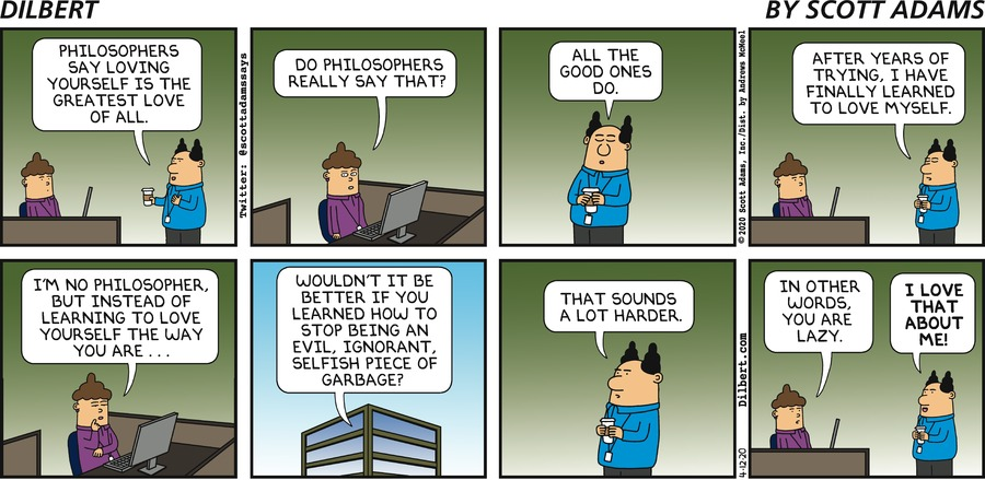 Loving Yourself  - Dilbert by Scott Adams