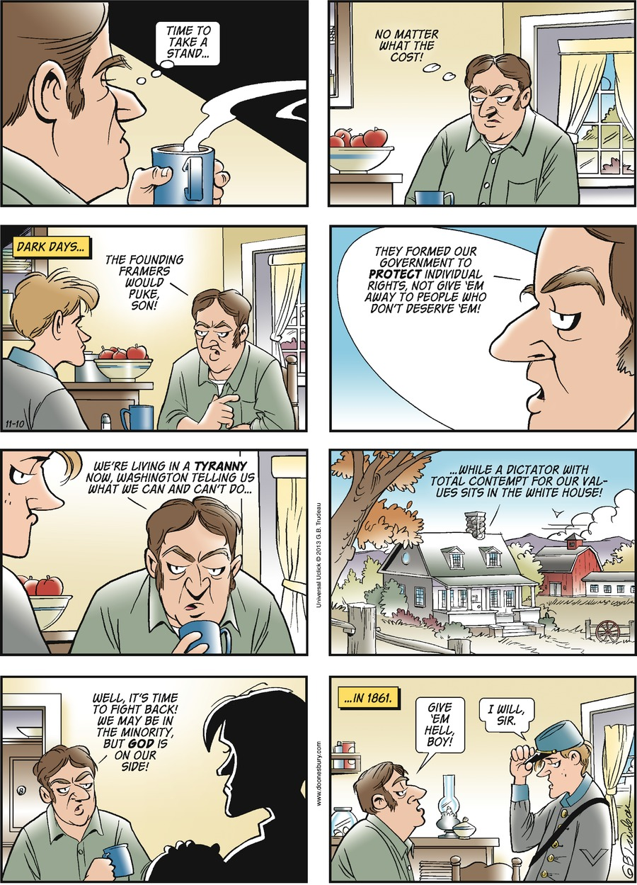 Doonesbury Comic Strip for November 10, 2013