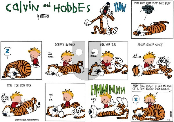 Calvin and Hobbes on Sunday December 13, 1987 Comic Strip