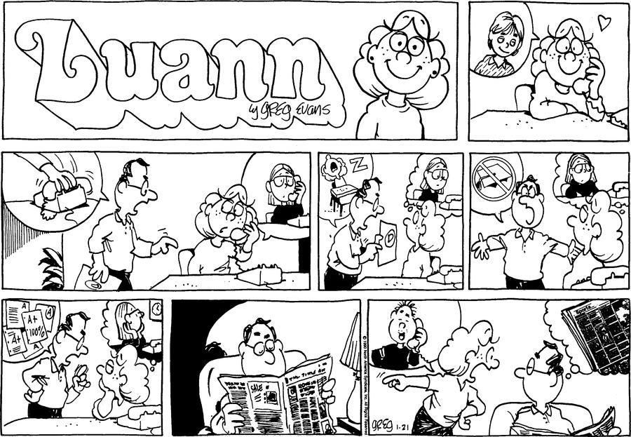 Luann Againn Comic Strip for January 21, 2018