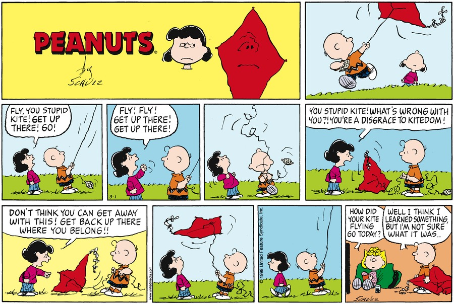 Peanuts Comic Strip for March 01, 1998