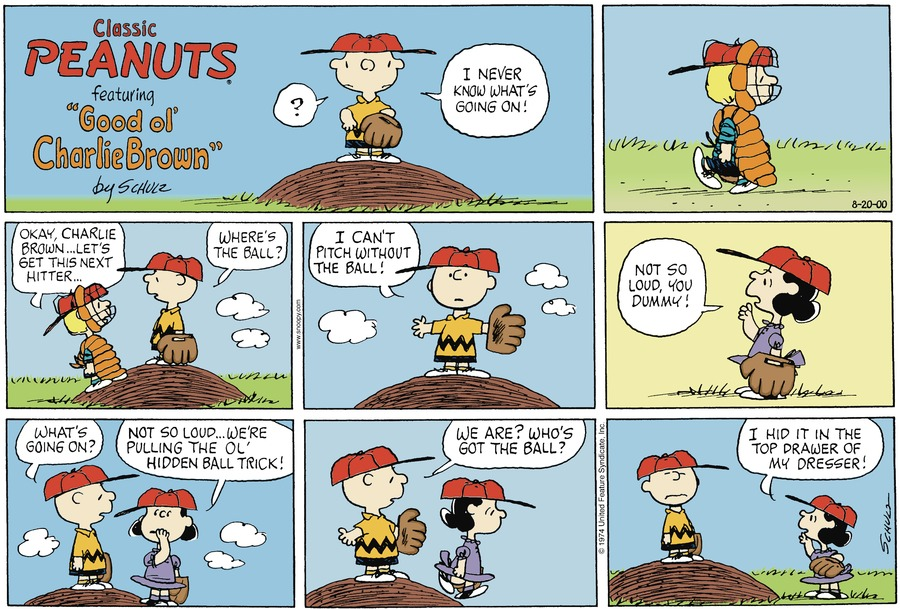 Peanuts for Aug 20, 2000 Comic Strip