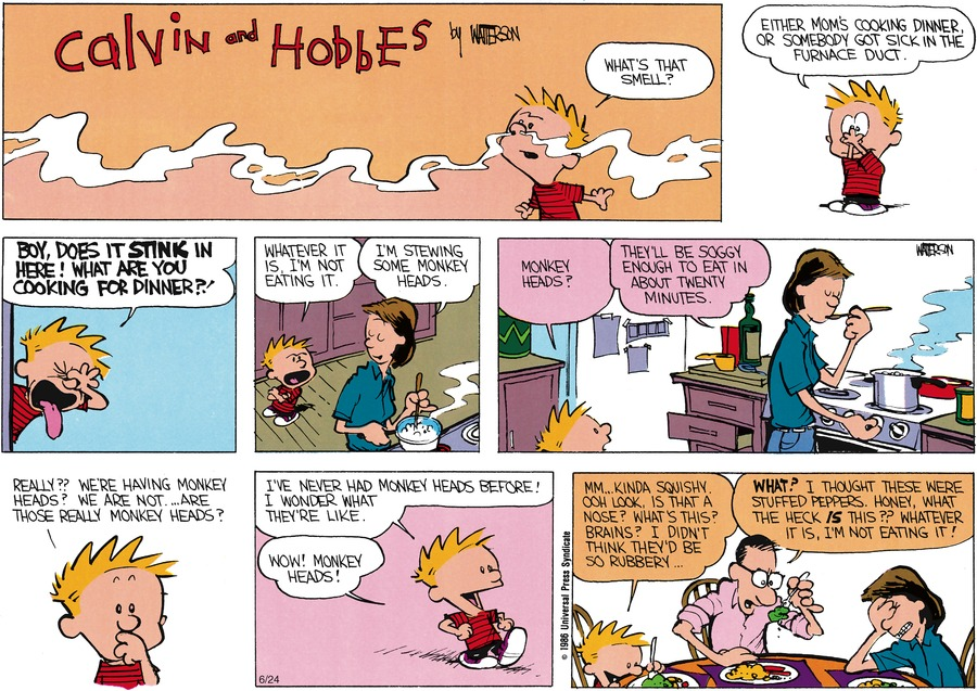 Calvin and Hobbes Comic Strip for June 01, 1986