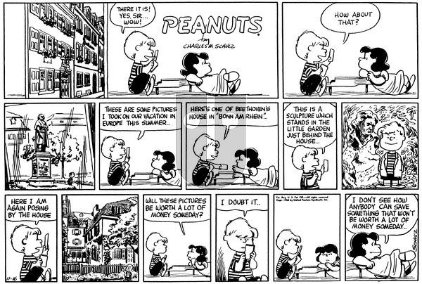 Peanuts on Sunday November 16, 1958 Comic Strip