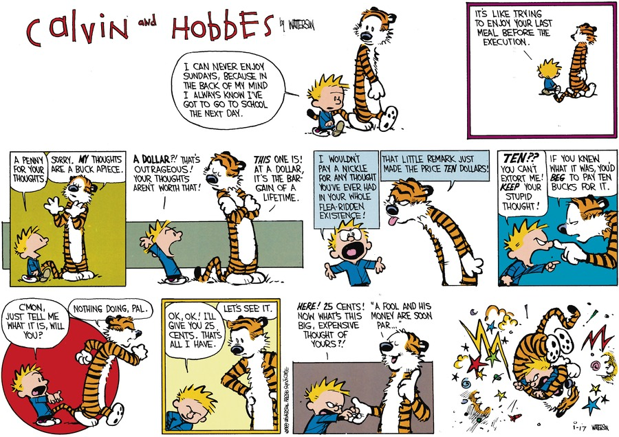 Calvin and Hobbes Comic Strip for March 05, 1989