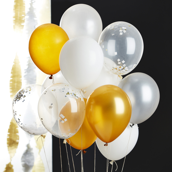 Show your style with fancy balloons as you usher in 2018. These 11-inch balloons from Crate and Barrel are filled with glittery glassine confetti, ready to explode with a pin prick after the countdown. Fill them with helium so they float above, and punctuate with gold or another bold color.