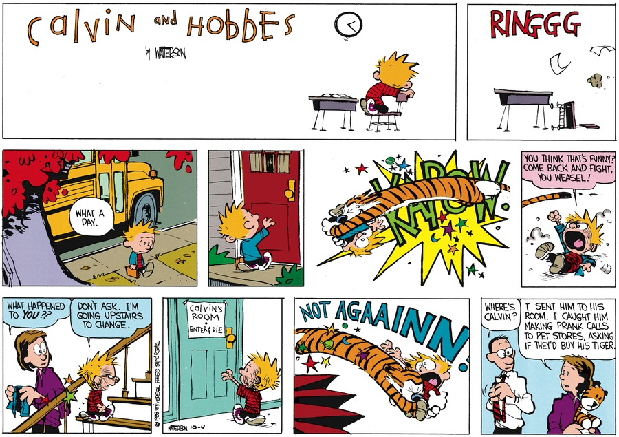 Calvin and Hobbes Comic Strip for November 13, 1988