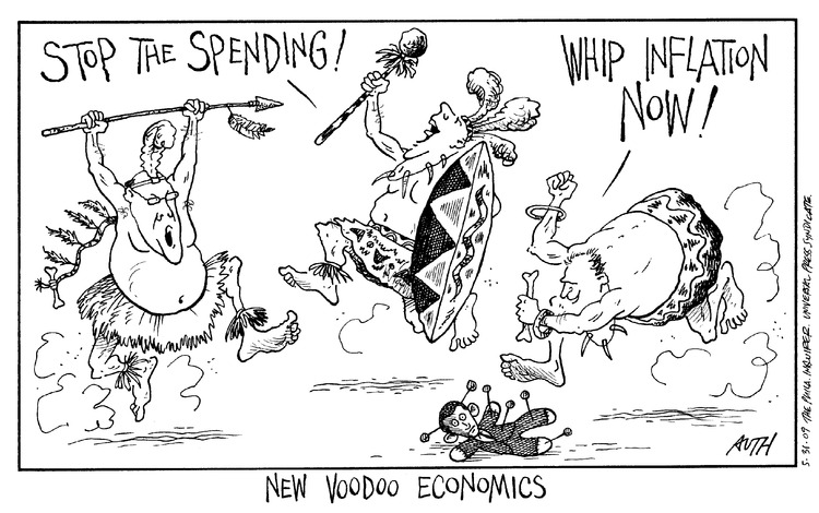 Man 1: Stop the spending! Man 2: Whip inflation now! New voodoo economics.