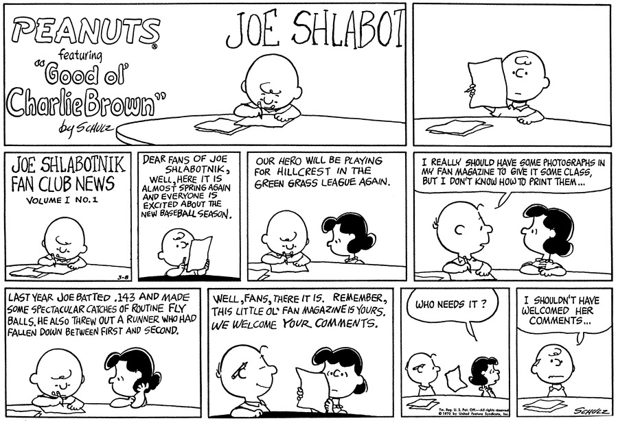Peanuts Comic Strip for March 08, 1970
